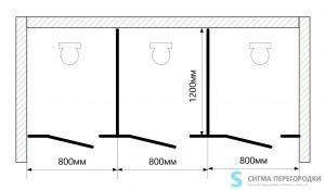 Сантехнические Перегородки 25мм из ЛДСП – 3 кабины