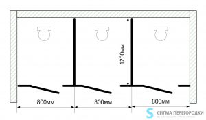 Сантехнические Перегородки 12мм из HPL – 3 кабины